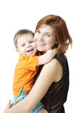 Mother with a child on a white background. Images of happy mother with a child on a white background Royalty Free Stock Photos