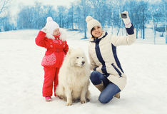 Mother and child with white Samoyed dog makes selfie portrait on smartphone in winter Royalty Free Stock Image