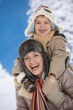 Mother and child at winter stock image