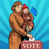 Mother and child women vote in elections. Pop art retro style. Politics and elections. The Womans Voice. The state and voters stock illustration
