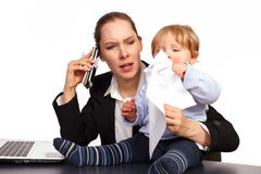 Mother and child at work series image 2. Mother and child at work series image royalty free stock images