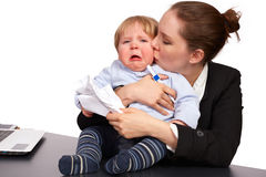 Mother and child at work series image 6. Mother and child at work series image Stock Photos