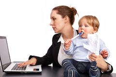 Mother and child at work series image 7. Mother and child at work series image stock photo