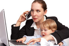 Mother and child at work series image 13. Mother and child at work series image royalty free stock photos