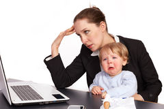 Mother and child at work series image 10 Royalty Free Stock Photography