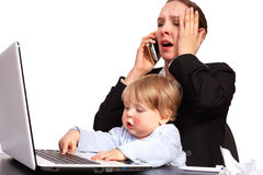 Mother and child at work series image 14. Mother and child at work series image Royalty Free Stock Image