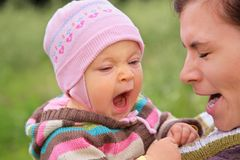 Mother with  child they yawn Royalty Free Stock Images