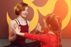 Mother and child yoga practice Royalty Free Stock Images