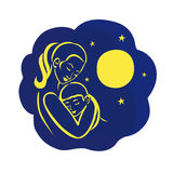 Mother and child. Young mother with a sleeping baby in her arms in the night sky with the moon and stars.Emblem of Motherhood and Childhood Stock Image