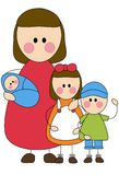 Mother and children. Cartoon illustration of mother with baby and two young children, isolated on white background Royalty Free Stock Photography