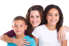 Mother and children. Happy mother and children over white Stock Image
