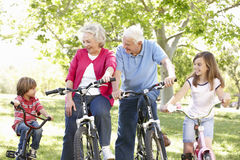 Mother and children on bikes Royalty Free Stock Photos
