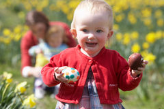 Mother And Children In Daffodil Field Stock Photography