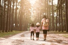 Mother and children daughter holding hand and walking together. In the pine tree park in vintage color tone Royalty Free Stock Photos