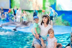 Mother with children in the dolphinarium, shinochek on her arms, and the daughter is standing nearby. Dolphins in the background stock photos