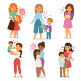 Mother and children with flower bouquet. Mothers and womans day vector. Stock Photo