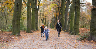 Mother with children in forest Stock Images