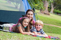 mother and children having fun in the park Stock Photography