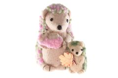 Mother and children hedgehog handmade Stock Photography