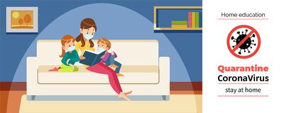 Mother and children home reading during Coronavirus or Covid-19 quarantine. Stay at home, Home education concept