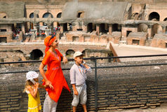 Mother and children, inside arena in Coliseum Royalty Free Stock Photo