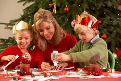 Mother And Children Making Christmas Cards Royalty Free Stock Photo
