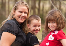 Mother and Children Portrait Outdoors royalty free stock photos