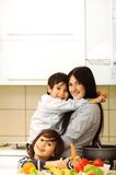 Mother And Children Prepare Royalty Free Stock Image