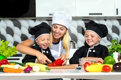 A family of cooks.Healthy eating.Mother and children prepares vegetable salad in kitchen. Mother and children prepares vegetable salad in kitchen.A family of stock image