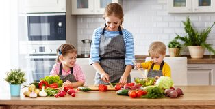 Mother with children preparing vegetable salad Stock Photos