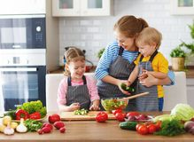 Mother with children preparing vegetable salad Stock Photography