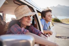 Mother And Children Relaxing In Car During Road Trip Royalty Free Stock Photography