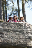 Mother And Children Resting On Hike Through Countryside Royalty Free Stock Image