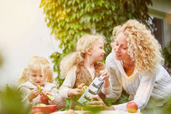Mother and children rubbing apples royalty free stock photos