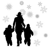 Mother with children runnig Royalty Free Stock Photography