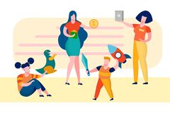 Mother with Children in Shop Vector Illustration royalty free illustration