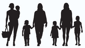 Mother and Children Silhouette Stock Photo