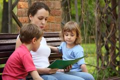 Mother with children sit and read book Royalty Free Stock Photos