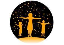 Mother and children sport training vector Royalty Free Stock Photo