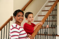 Mother and Children on Stairs Stock Photo