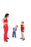Mother with children training Royalty Free Stock Image