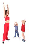 Mother and children training hands up Royalty Free Stock Photo