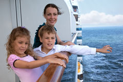 Mother with children travel on ship. Mother with her children travel on ship royalty free stock image