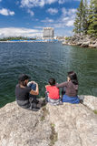 Mother and children at Tubbs Hill. Royalty Free Stock Images