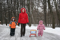 Mother with children. winter. Mother with children walking. winter stock images