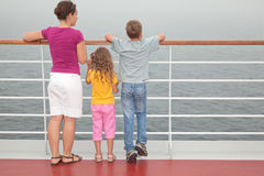 Mother with childrens stand on deck of ship Royalty Free Stock Photography