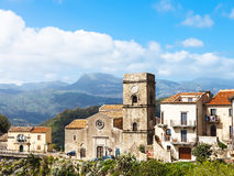 Mother Church in mountain village Savoca, Sicily Royalty Free Stock Image