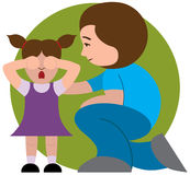 Mother comforting child. Concerned mother sympathizing with upset young daughter stock illustration
