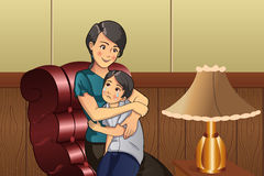 Mother comforting her kid. A vector illustration of mother comforting her crying little kid stock illustration