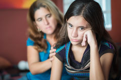 Mother comforts her teen daughter Stock Photography